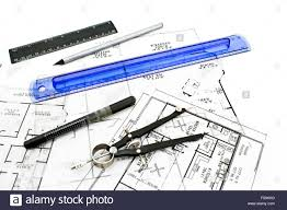 house plan blueprints with drawing tools stock photo royalty free