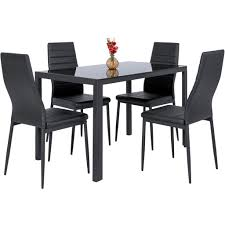 5 piece dining table set w glass top leather chairs black