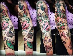 Girly Tattoo Sleeve Ideas Impressive Old Tattoo On Full Sleeve Traditional Tattoos