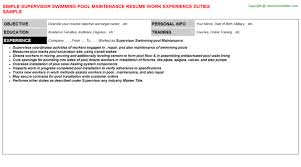 Maintenance Resume Examples by Supervisor Swimming Pool Maintenance Resume Sample
