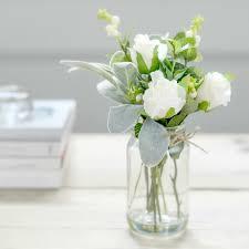 faux flower white rose bud posy jar flower studio shop