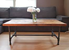 Wooden Furniture Design For Living Room Wood Coffee Table With Steel Pipe Legs Made Of Reclaimed Wood