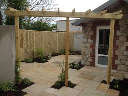 sandstone paving with clementine trellis screening walls 2015