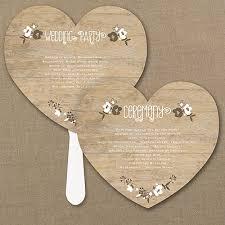 rustic wedding fan programs wood grain floral heart program fan 40 http mediaplus