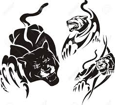 black panther and two lionesses tribal predators vector