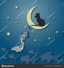 black cat sitting moon fishing golden fish starry sky shading