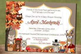 whimsical hipster fall forest themed baby shower invitation