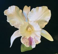 1985 masterpiece bone china homco white cattleya orchid fine