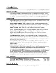 Carpenter Resume Example by Rèsumè Samples Rèsumè U0026 Career Specialist