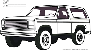 free coloring activity ford bronco profile fun free party games
