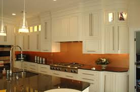 Copper Backsplash White Cabinets Blackdark Counter Silver Sink - Copper backsplash