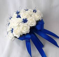 wedding flowers royal blue wedding flowers brides posy bouquet ivory roses and royal blue