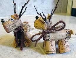 rustic deer reindeer wine cork ornament in chocolate brown the