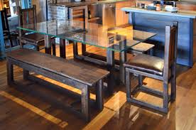 Dining Room Set Bench Industrial Dining Table Set Abodeacious