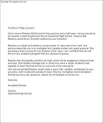 student recommendation letter reference letter sample for asample