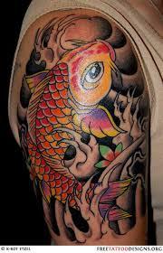 big koi fish tattoo on right upper arm tattoomagz