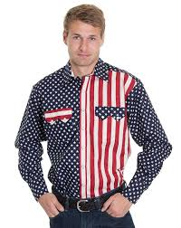 American Flag Jean Shorts Men Men U0027s Long Sleeve Two Tone Snap Shirt American Flag