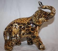 la vie safari ceramic elephant figurine african patchwork mint