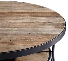round wood coffee table rustic best bartlett reclaimed wood coffee table pottery barn pertaining to