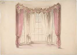 White Gold Curtains Anonymous British 19th Century Design For Pink Curtains And