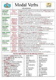 worksheet modal verbs with substitutes