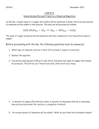 determining percent yield in a chemical reaction
