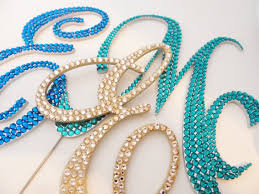 rhinestone monogram cake topper could totally diy my own monogram cake toppers like this