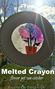 how to make a melted crayon flower pot sun catcher craft