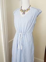 light blue and white striped maxi dress new j crew light blue white woven tassle striped maxi dress 38