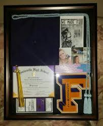 graduation shadow box cap and gown finally finished the graduation shadow box after two months i