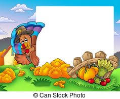 stock illustration of scroll with thanksgiving turkey color