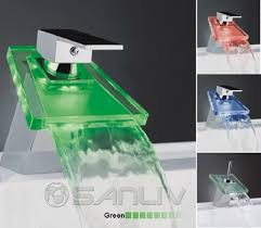 Waterfall Bath Faucets Trapezoid Waterfall Led Bathroom Sink Faucet Led Waterfall