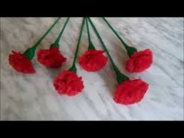 Red Carnations When Color Of Love Is Red How To Make Red Carnation Flower Youtube