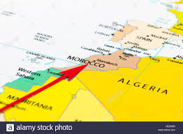 Marrakech Map World by Red Arrow Pointing Morocco On The Map Of Africa Continent Stock