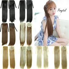 Pony Wrap Hair Extension by Women Drawstring Long Straight Hair Extensions Piece Wrap Around