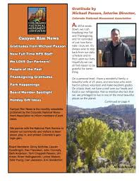 thanksgiving newsletter news colorado national monument association
