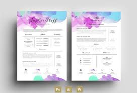 innovative resume templates water color resume template psd by emily u0027s art boutique on