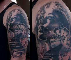 woman portrait with broken clock zorbas tattoo pinterest