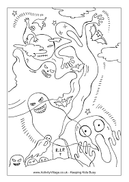 haunted house colouring