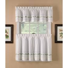 Kitchen Valances And Tiers by Country Classics Sage Lace Embroidered Floral Tier Curtains
