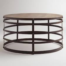 round wood and metal end table the most coffee table world market within round wood and metal decor