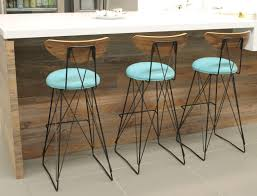 Industrial Bar Stool With Back Mid Century Modern Vintage Style Bar Stool Curved Plywood Back