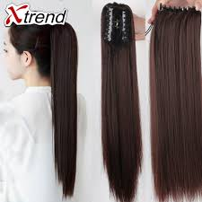 Long Synthetic Hair Extensions by 20inch Synthetic Long Claw Clip Pony Tail Hair 130g Black Long