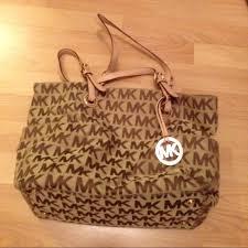 light brown mk purse michael kors bags soldauthentic browntan tote bag poshmark