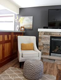 benjamin moore gray with stone fireplace tv accent chair and