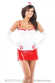 Nurse Halloween Costumes Womens 2 Pc White Red Nurse Bustier Costume Amiclubwear Costume