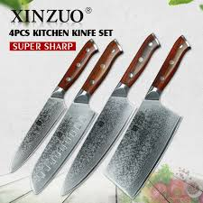 pro kitchen knives xinzuo 4pc kitchen knife set damascus steel chef knives pro chef s