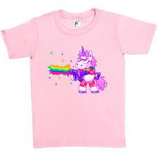soldier unicorn wearing shades rainbow machine gun kids boys