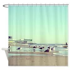 duschvorhang strand sand möwen ozean wellen minze beige blau