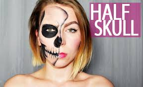half halloween makeup half skull face tutorial einfaches halloween makeup youtube